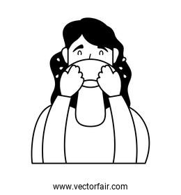 young woman sick with runny nose character