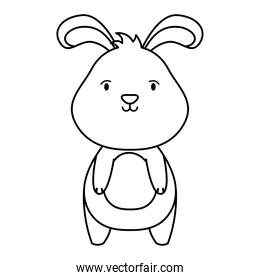 cute easter little rabbit character line style icon