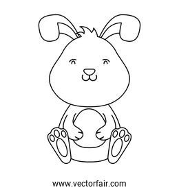 cute easter little rabbit seated line style icon