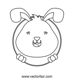 cute easter little rabbit in hole character line style