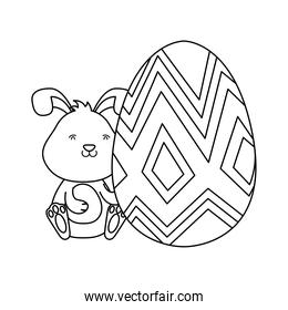 cute easter little rabbit with big egg paint line style
