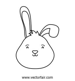 cute easter little rabbit head character line style icon
