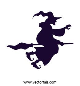 halloween witch flying in broom silhouette