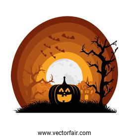 halloween pumpkin with bats flying and haunted house scene