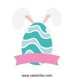 happy easter egg paint with waves and ears rabbit