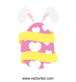 happy easter egg paint with hearts and ears rabbit