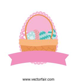 happy easter eggs painted in basket with ribbon frame