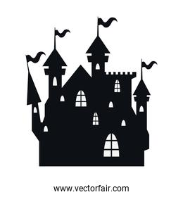 halloween haunted dark castle with flags silhouette style icon
