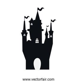 halloween haunted dark castle with flags silhouette style