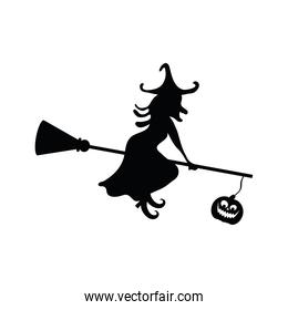halloween witch flying in broom with pumpkin hanging silhouette