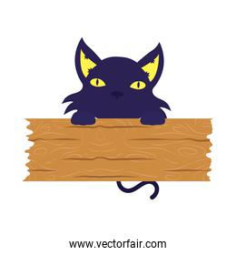 halloween cat black mascot with wooden board