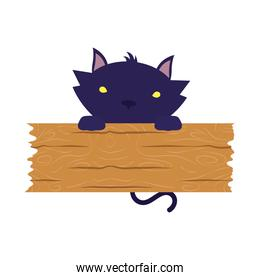 halloween cat black with wooden board