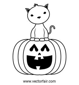 halloween pumpkin face with black cat line style