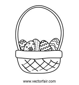 happy easter eggs painted in basket line style icon