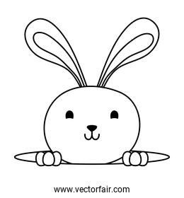 cute easter little rabbit in hole character line style icon