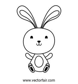 cute easter little rabbit seated character line style icon