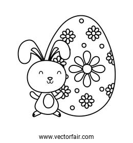 cute easter little rabbit with big egg paint character line style