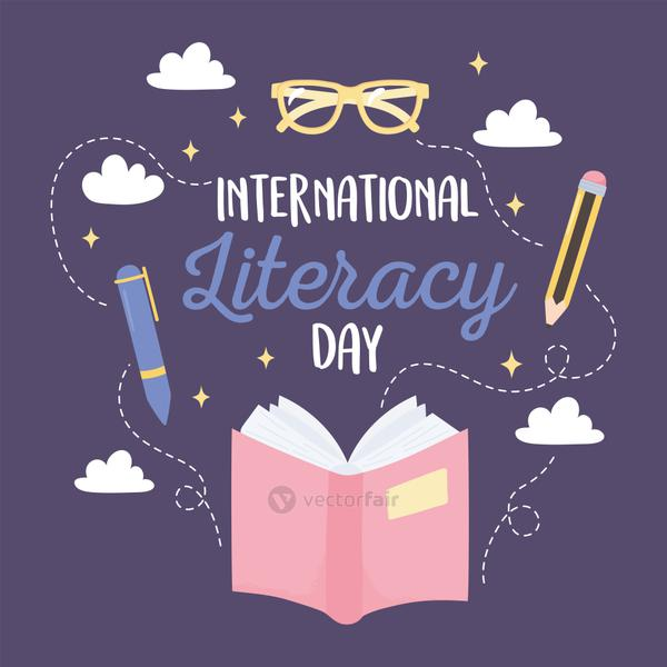 international literacy day, open book pen pencil glasses educational