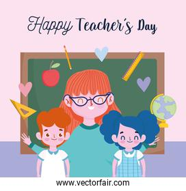 happy teachers day, cute teacher with smiling childrens in classroom