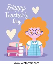 happy teachers day, blonde student girl cartoon with books