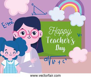 happy teachers day, beautiful teacher pupil with blackboard and rainbow