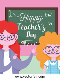happy teachers day, female teacher and pupil girl with chalkboard