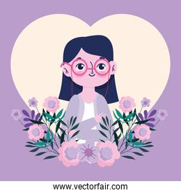 teachers day, young woman teacher character with flowers