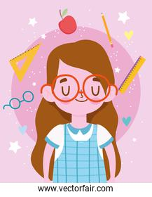 happy teachers day, cute student girl with uniform cartoon and supplies school