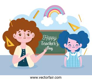 happy teachers day, student girl and teacher with blackboard ruler and pencils