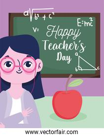 happy teachers day, teacher with apple and chalkboard with letters