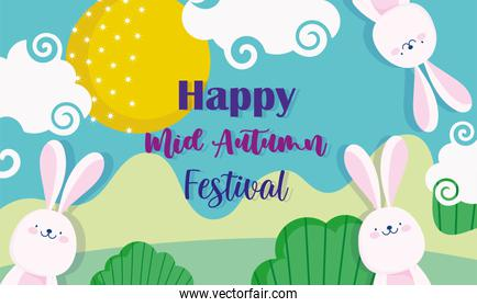happy mid autumn festival, cute rabbits landscape nature, blessings and happiness