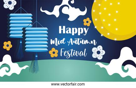 happy mid autumn festival, chinese lanterns flowers decoration blessings and happiness