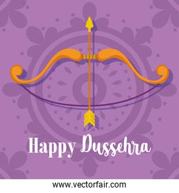 happy dussehra festival of india, bow arrow purple background traditional religious ritual