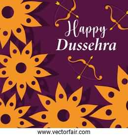 happy dussehra festival of india, flowers bow arrow decoration, traditional religious ritual