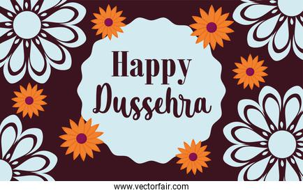 happy dussehra festival of india, traditional religious ritual flowers floral decoration banner
