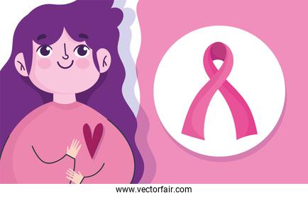 breast cancer awareness month, cartoon woman ribbon and heart