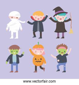 happy halloween, costume characters group kids, trick or treat, party celebration