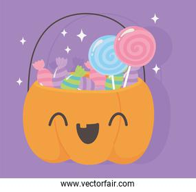 happy halloween, funny pumpkin bucket with candies trick or treat party celebration