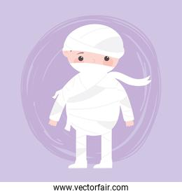 happy halloween, cute boy mummy costume character trick or treat, party celebration