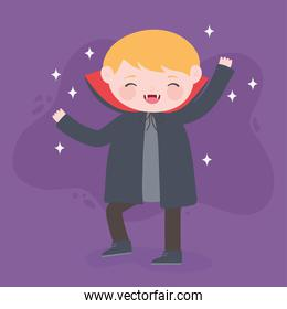 happy halloween, costume character boy dracula with cape, trick or treat, party celebration