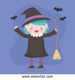 happy halloween, costume character girl witch with broom and bats, trick or treat, party celebration