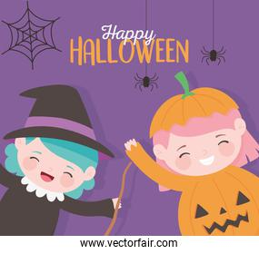 happy halloween, little girls witch and pumpkin costume character trick or treat, party celebration