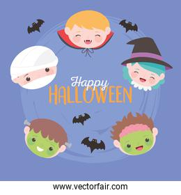 happy halloween, costume characters childrens faces, trick or treat, party celebration