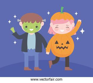 happy halloween, boy and girl zombie and pumpkin costume character, trick or treat party celebration
