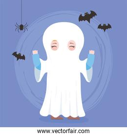 happy halloween, cute ghost costume character and bats trick or treat, party celebration
