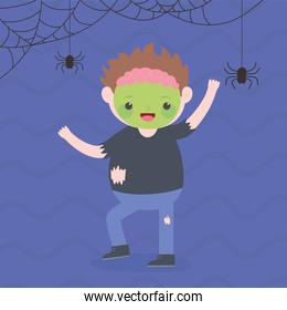 happy halloween, smiling zombie boy with bats costume character, trick or treat, party celebration