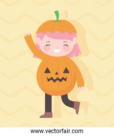 happy halloween, cute little girl pumpkin costume character trick or treat, party celebration