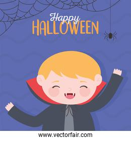 happy halloween, dracula boy costume character trick or treat, party celebration