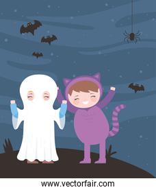 happy halloween, mummy and cat costume character night bats, trick or treat, party celebration