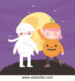 happy halloween, pumpkin and mummy costumes night moon, trick or treat, party celebration